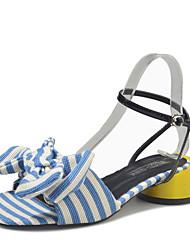 economico -Da donna Sandali Club Shoes PU (Poliuretano) Primavera Estate Casual Formale Club Shoes Fiocco Fibbia Quadrato Nero Blu 5 - 7 cm