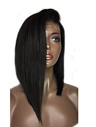 Donna Parrucche di capelli umani con retina Cappelli veri Lace integrale Senza colla e con tulle integrale 130% Densità Lisci Parrucca