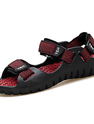 Men's Sandals Spring Summer Comfort PU Outdoor Casual Magic Tape Black/Yellow Light Brown Black/Red