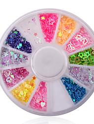 Formes mixtes d'ongles&Couleurs paillettes à ongles creux coeur étoiles fleurs roue