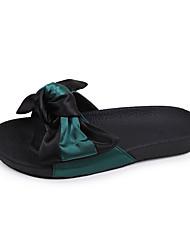 Недорогие -Для женщин Тапочки и Шлепанцы Удобная обувь Полиуретан Лето Повседневные Для прогулок Удобная обувь Цветы На плоской подошве Белый Зеленый