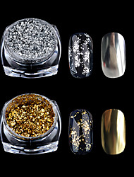 1 Box Gold Silver Glitter Aluminum Flakes Magic Mirror Effect Powders Sequins Nail Gel Polish Chrome Pigment Decorations 0.2g