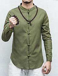 cheap -Men's Daily Casual Chinoiserie Spring Fall Shirt,Solid Standing Collar Long Sleeves Linen Thin