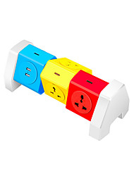 cheap -ABS Colorful Power Strip 6 Port With 2 USB Charging Port 180 Degree Free Rotation Over Range Protection