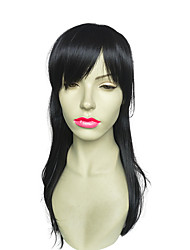cheap -Long Wavy Synthetic Fiber Wig With Neat Bangs Women Party Wig Hairstyle Heat Resistant Wig