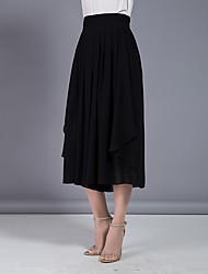 abordables -Mujer Tallas Grandes Tiro Alto Perneras anchas Chinos Pantalones - Un Color En Capas Plisado