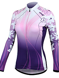 cheap -SANTIC Women's Long Sleeves Cycling Jersey - Purple Floral / Botanical Bike Jersey Jacket, Thermal / Warm, Quick Dry, Ultraviolet