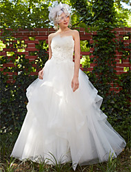 cheap -Princess Strapless Floor Length Tulle Custom Wedding Dresses with Beading Appliques by LAN TING BRIDE®