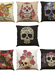 cheap -Set of 7 Skull Head Pattern Linen  Cushion Cover Home Office Sofa Square  Pillow Case Decorative Cushion Covers Pillowcases As a Gift