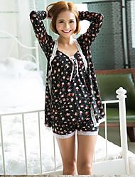 3ps de manga comprida v-pescoço impresso vestido curto conjunto de pijama