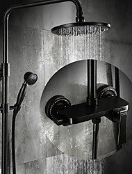 Antique Centerset Rain Shower Ceramic Valve Three Holes Single Handle Three Holes Oil-rubbed Bronze , Shower Faucet