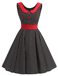 cheap -Women's Rockabilly Vintage Dress Black White Mini Polka Dot Round Neck Knee-length Sleeveless Cotton All Seasons Mid Rise