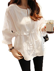 cheap -Women's Daily Wear Classic & Timeless Spring Fall Blouse, Solid Color Round Neck Long Sleeves N/A