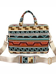 "cheap -Canvas Bohemian Style Grid/Plaid Patterns Geometric Pattern Handbags Shoulder Bag 15"" Laptop"