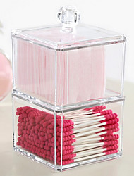 cheap -Acrylic Transparent Complex Combined Double 2 Layer Makeup Cosmetics Storage Cotton Pads Swab Container Cosmetic Organizer Box 2PCS Set with Lid