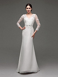 cheap -A-line Wedding Dress See-Through Wedding Dresses Sweep / Brush Train V-neck Chiffon / Lace with Appliques / Sash / Ribbon