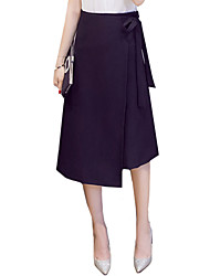 cheap -Women's Work Going out Asymmetrical Skirts,Street chic Vintage A Line Split Solid Fall Spring
