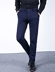 Men's Mid Rise Micro-elastic Chinos Business Pants Straight Slim Solid CY-1610