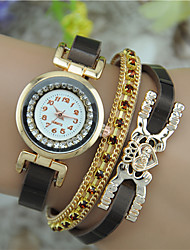 cheap -Women's Fashion Watch Bracelet Watch Quartz Rhinestone Colorful Leather Band Bangle