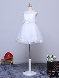 a-line abito ragazza fiore lunghezza ginocchio - tulle sleeveless gioiello collo con fiore da likestar