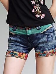 cheap -Women's High Rise strenchy Slim Shorts Pants,Street chic Print Summer