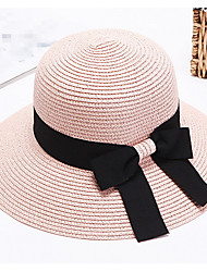 Straw Hat Children Summer Sun Hat Big Brim Covered Face Bowknot Travel Cap