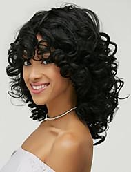 economico -Donna Parrucche sintetiche Senza tappo Medio Ondulati Nero Parrucca riccia stile afro Per donne di colore Parte laterale Con frangia