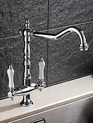 High Quality Brass Chrome Two Handles One Hole Rotatable Kitchen Sink Faucet