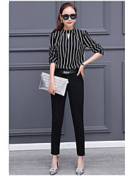 Women's Work Simple Spring Shirt,Striped Round Neck Long Sleeve Others Medium