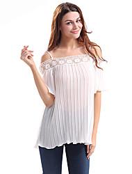 Dámské Jednobarevné Běžné/Denní Jednoduché Tričko-Léto Polyester Úzký výstřih Krátký rukáv Tenké