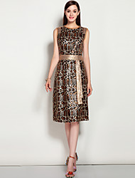 cheap -Women's A Line Dress - Leopard, Sequins