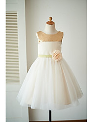 cheap -A-Line Knee Length Flower Girl Dress - Satin Tulle Sleeveless Scoop Neck with Bow(s) Flower(s) Sash / Ribbon Sequins by LAN TING BRIDE®