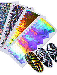 cheap -Holo Sawtooth Stripe Tape 3D Nail Sticker Laser Wave Line Ultra-thin Manicure Foil Decal Decorations