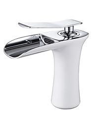 Moderne Set de centre Jet pluie Soupape céramique 1 trou Mitigeur un trou Peintures , Robinet lavabo