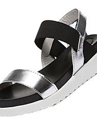 Feminino Sandálias Conforto Couro Ecológico Verão Casual Caminhada Conforto Combinação Rasteiro Branco Preto Prata 5 a 7 cm