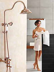 cheap -Country Centerset Waterfall Rotatable with  Ceramic Valve Single Handle Two Holes for  Rose Gold , Shower Faucet