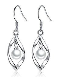cheap -Women's Leaf Imitation Pearl Drop Earrings - Unique Design Silver Leaf Earrings For Wedding Party Daily Casual