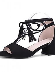 preiswerte -Damen Schuhe Kunststoff Kunstleder PU Sommer Herbst Neuheit Sandalen Walking Blockabsatz Peep Toe Quaste Für Normal Party & Festivität
