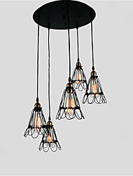 cheap -Vintage Creative Wrought Iron Small Iron Cage Lighting Lamps Metal Pendant Lights 5 Lights Painted Finish Industrial Living Room Dining Room Chandelie