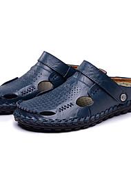 Men's Clogs & Mules Summer Light Soles  Animal Skin Casual Black Brown Blue