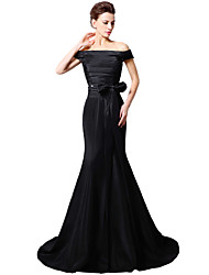 Mermaid / Trumpet Off-the-shoulder Sweep / Brush Train Taffeta Formal Evening Dress with Cascading Ruffles by Sarahbridal