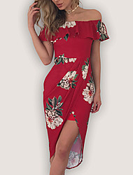 cheap -Women's Going out Sophisticated Sheath Dress Red, Print High Rise Boat Neck