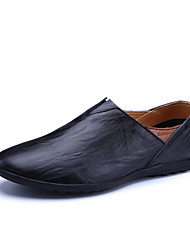 cheap -Men's Loafers & Slip-Ons Comfort Spring Fall Cowhide Casual Party & Evening Office & Career Flat Heel Black Yellow Dark Brown Flat