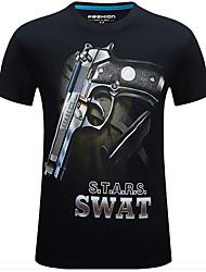 preiswerte -Jagd-T-Shirt 3D Komfortabel Herrn Damen Unisex Kurzarm camuflaje Oberteile für Jagd Frühling Sommer Schwarz XXL XXXL 4XL 5XL 6XL