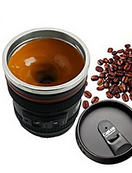 1Pcs   Emulation Camera Lens Stainless Steel Inner Kitchen Dining  Bar  Home Office Milk Tea Coffee Self Stirring Mug Lid Style Random