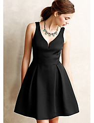 Women's Work Sheath Dress,Solid Deep V Above Knee Sleeveless Polyester All Seasons Mid Rise Micro-elastic Medium