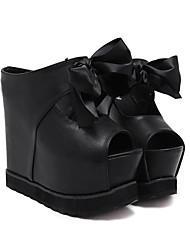 abordables -Femme Chaussures à Talons Creepers Confort Printemps Polyuréthane Décontracté Blanc Noir Écran couleur Plat