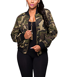 Women's Sports Going out Casual/Daily Simple Active Street chic Spring Fall Jacket,Camouflage Round Neck Long Sleeve Regular Polyester