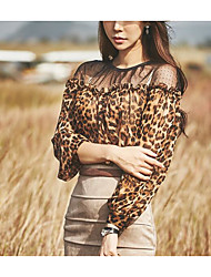 cheap -Women's Going out Vintage Blouse,Leopard Round Neck Long Sleeves Others