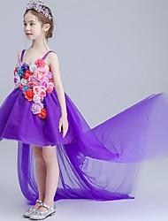 abito da sera vestito asimmetrico fiore ragazza - cinghie spaghetti sleeveless organza con applique da ydn